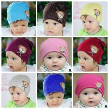 Newborn Infant Baby Girl Boys Polka Dot Bear Cotton Cap Beanie Hat Winter Warm