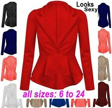 Womens Ladies Crop Frill Shift Big Plus Size Peplum Blazer Jacket Coat UK 6-24 J