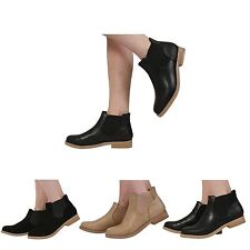 WOMENS LADIES PULL ON FLAT LOW HEEL CHELSEA  ANKLE BOOTS SHOES SIZE 3-8