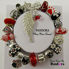 "Authentic Pandora Sterling Silver Bracelet w/ Euro Charms ""Dog Mom & Pet Lovers"""