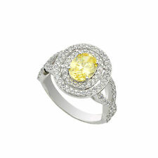 Sterling Silver Canary Yellow Oval Designer Cubic Zirconia Ring