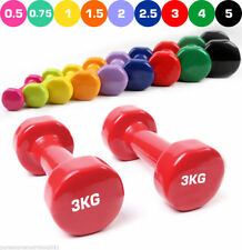 Vinyl Dumbbell Hand Free Weights Strength Training Ladies Home Workout Aerobic