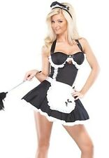 Sexy Retro French Maid Costume Womens Adult Fancy Dress Black White S M L NEW