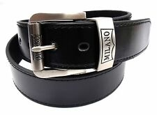 MENS WOMENS BLACK HIGH QUALITY LEATHER BELT SILVER BUCKLE DESIGNED BY MILANO