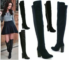 Ladies Black Knee High Boots Womens High Block Heel Stretch Elasticated Shoes Sz
