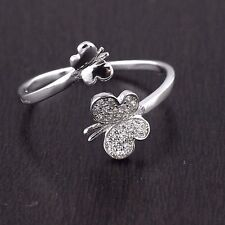 Womens 925 Sterling Silver CZ Micro Pave Butterfly Adjustable Ring