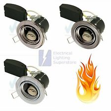 6 x Fire Rated Tilt Short Can Small Downlight GU10 Mains 240V Pressed Steel