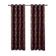 Set of 2 Burgundy Embroidered Curtains, Olivia Lined Grommet Window Panels