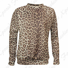 New Ladies Women's SCUBA Animal Leopard Long Sleeve Sweatshirt Jumper Top 8-14