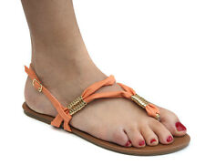 New Odeon Orange/Gold Womens Slingback Toe Post Sandals ALL SIZES