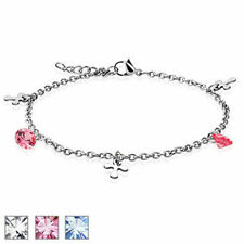 Dangle Cross CZ Charm 316L Stainless Steel Chain Anklet Bracelet