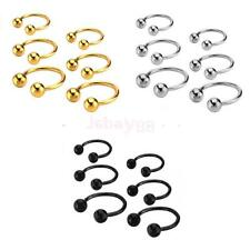 3 Colors Stainless Steel Ball Horseshoe Bar Nose Ear Ring Body Piercing Jewelry