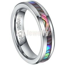 Fashion Tungsten Carbide Women Wedding Bride Band Ring Abalone Shell Inlay Green