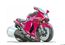 PERSONALISED KAWASAKI ZZR KOOLART MOTORCYCLE GIFT ANY NAME MESSAGE COLOUR