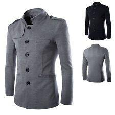 Mens Fashion British Stand Collar Casual Slim Fit Coat Jacket Chinese Tunic Suit