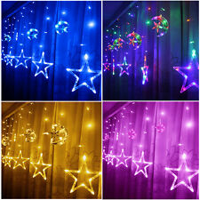 48 LED Moon & Star String Fairy Lights For Xmas Christmas Curtain Window Display