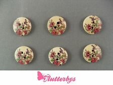 6 Red Flower Wooden Buttons, 15mm, sewing crochet knitting card making crafts