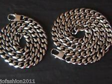 Stainless Steel Bracelet Necklace Curb chain Set many Sizes Fb. Silver