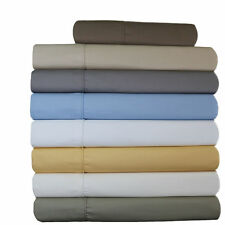 Queen-Size Cotton Blend Sheets, 650 TC 22-Inch Super Deep Pocket Solid Sheet Set
