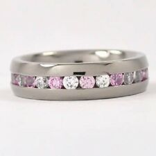 6mm Eternity Titanium Ring, Band w/ Light Pink & CZ stones, Anniversary band