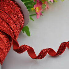 10y Red Metallic Glitter ribbon Wedding Party Supply Decoration DIY Crafts