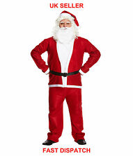 Men's Santa Suit Father Christmas Deluxe Adult Fancy Dress Costume Xmas Outfit