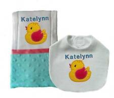 New Personalized Handmade Blue Baby Girl Bib Burp Cloth, Set of 2 Burp Cloths