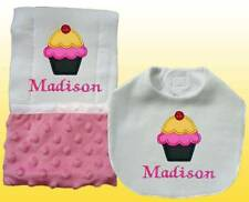 New Personalized Handmade Baby Girl Pink Ice Cream Bib and Burp Cloth Set