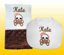 New Handmade Personalized Skull Brown Girl Baby Bib And Burp Cloths Sets