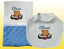 New Handmade Personalized Bear Blue Baby Boy Bib Burp Cloth, Burp Cloths Set