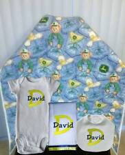 Handmade Personalized Boys John Deere Blue  Blanket Layette Set Baby Gift