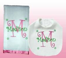 Handmade Embroidered Personalized Curlz Font Baby Girl Pink Bib and Burp Cloth