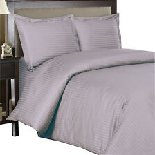 100% Cotton Sateen Duvet Cover, Lilac 600 Thread Count Striped Duvet Cover Set