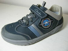 Clarks Boys Wing Brite Inf Navy Blue Leather Casual strap Shoes