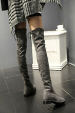 Chic Womens Classic Over Knee Thigh Booties Flats Suede Stretchy Pull On Boots