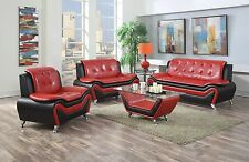 Wanda Red/Black Bonded Leather Sofa Set-3PC, 2PC, Sofa, Loveseat, Chair Option