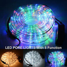 10M LED Rope Lights Multi Flashing 8 Function Outdoor Wedding Party Christmas