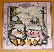 Handmade Greeting Card 3D Christmas With A Penguin Couple