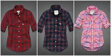 NWT abercrombie Kids Girl's Red, Green, Navy Plaid Button-down shirt, blouse M