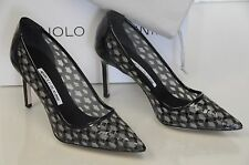 $865 New MANOLO BLAHNIK FELLOW 90 Black Patent Pumps  BB Heels SHOES 36