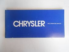 1972 Chrysler Owners Manual P/N:81-070-2170