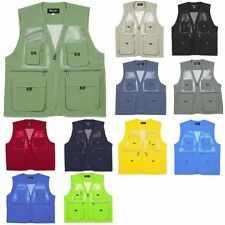Mens Sleeveless Utility Multi Pocket Zip Hunting Fishing Shooting Mesh Vest