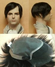 100% fine human hair front lace hair replacement system top piece toupee for men