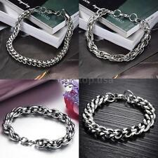 Men Popular 316L Stainless Steel Charm Punk Chain Bracelet Fashion Jewelry H20T