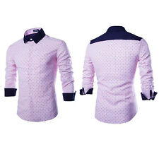 Mens Casual Slim Fit Dress Boys Shirts Tops Business Formal Shirt Long Sleeve