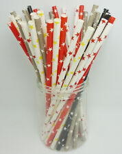 25 pcs Colored Paper Drinking Straws Star Pattern Drinking Straws For Party