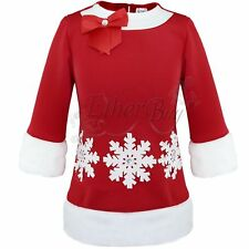 Toddlers Baby Girl Red Snowflake Clothing Christmas Holiday Party Dress Outfits