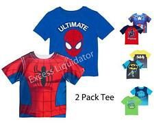 BOYS CHARACTER GRAPHIC 2 PACK T-SHIRT, BATMAN, TMNT, AVENGERS, SPIDERMAN