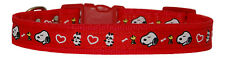 "red ""snoopy"" medium large dog/puppy collar 4 sizes 3/4"" 19mm cushioned"