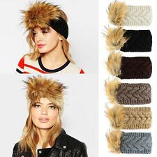 Womens Soft Faux Fur Headband Ear Warmer Ski Hat Elastic Ear Warmer Muffs IW54